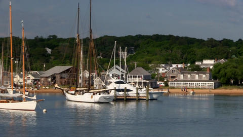 The Black Dog Tavern Restaurant In Vineyard Haven From Deck Of Ferry Boat As It  stock footage