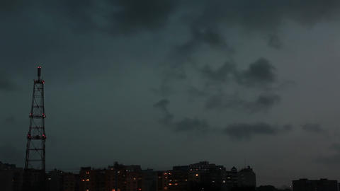 Thunderstorm Over The Town stock footage