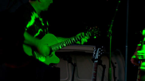 Acoustic Guitar And Flashing Lights stock footage