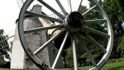 Tail Pole And Wagon Wheel Of Old East Windmill At Heritage Plantation In Sandwic stock footage