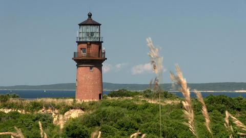 Gay Head Aquinnah lighthouse from observation deck on Martha's Vineyard Footage