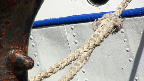 Stern rope tied to mooring Footage