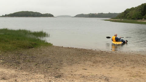 Elderly Kayaker Cape Cod; 2 stock footage