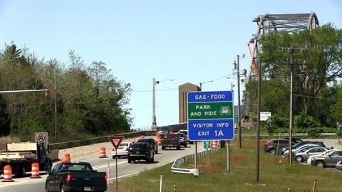 Bridge traffic merge construction Cape Cod Footage