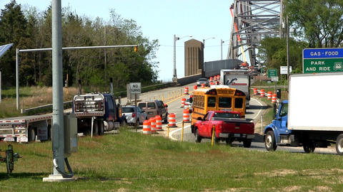 Bridge traffic merge construction Cape Cod; 5 Footage