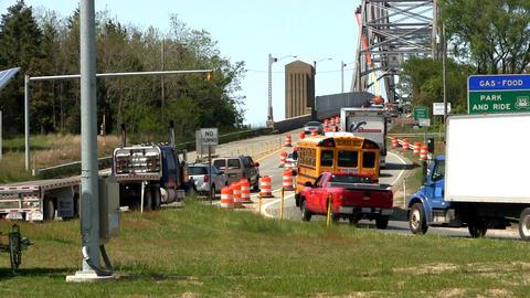 Bridge traffic merge construction Cape Cod; 5 Footage