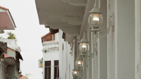 3 Lights And Old Street Lamps In Casco Antiguo Panama Footage