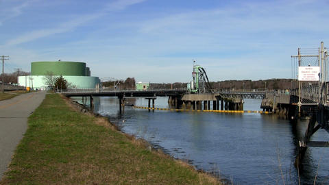 Fuel tanker dock pumping stations cape cod canal Footage