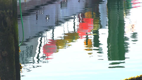 Fishing boat buoy water reflection cape cod Footage