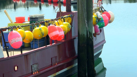 Colorful fishing buoy markers cape cod Footage
