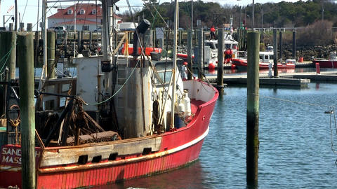 Docked fishing boats cape cod; 4 Footage