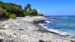 Black and white gravel beach in Kona Hawaii Footage