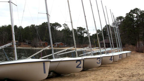 Sail boats lined up for rigging Footage