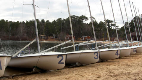420 fleet lined up on beach Footage