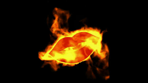 sexy lip symbol with fire Animation