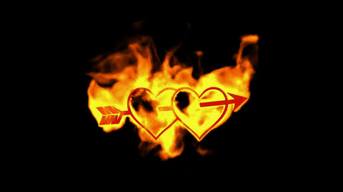 arrow through two burning hearts,valentine's day energy... Stock Video Footage