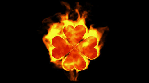 burning four hearts shaped quadrifoglio... Stock Video Footage