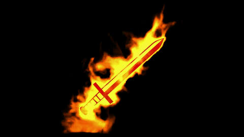 fire sword sign,burning ancient arms Stock Video Footage