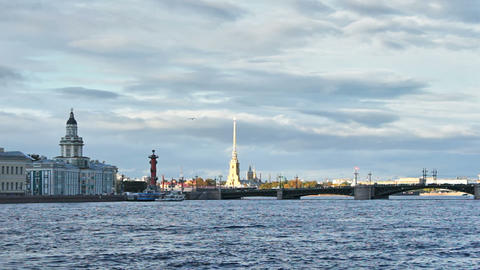 University Embankment and Palace Bridge Stock Video Footage