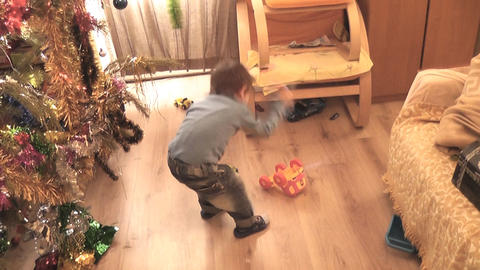 boy crash toy 01 Stock Video Footage