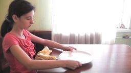 girl washing tableware Stock Video Footage