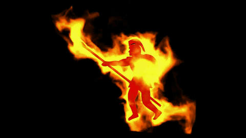 burning ancient soldier brandishing spear Stock Video Footage