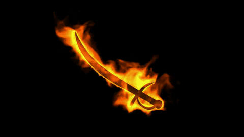 fire sword and knife sign,burning ancient arms Stock Video Footage