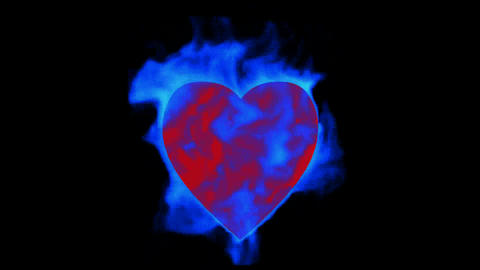 burning blue heart,valentine's day energy heart Animation