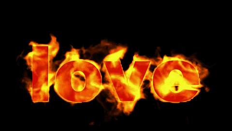 love word in flames Stock Video Footage