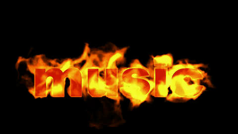 burning music text,fire word, Stock Animation