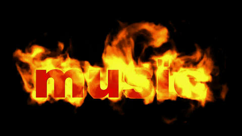 burning music text,fire word Animation