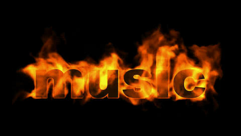 burning music text,fire word Stock Video Footage