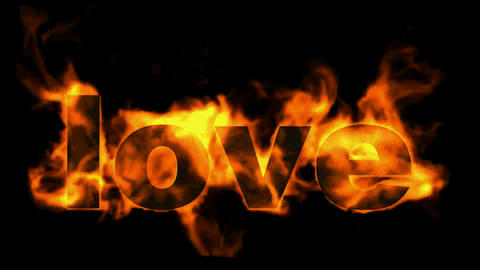 burning love text in flames Stock Video Footage