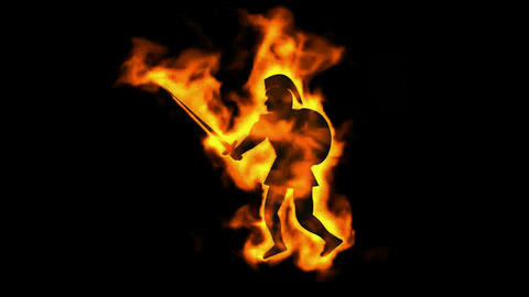burning ancient soldier brandishing fire spear Animation