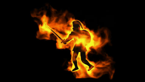 burning ancient soldier brandishing fire spear Stock Video Footage