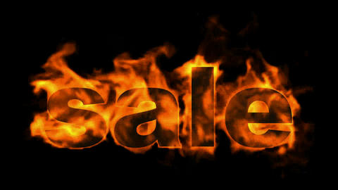 burning sale text,hot sale Stock Video Footage