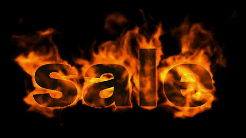 burning sale text,hot sale Animation