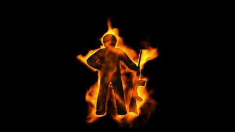 burning soldier with machine gun,fire war sign Stock Video Footage