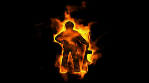 burning soldier with machine gun,fire war sign Animation