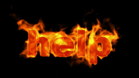 burning help word,fire text Stock Video Footage