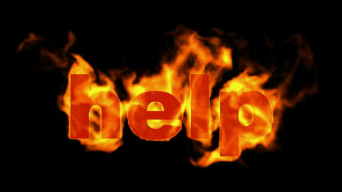 burning help word,fire text Animation