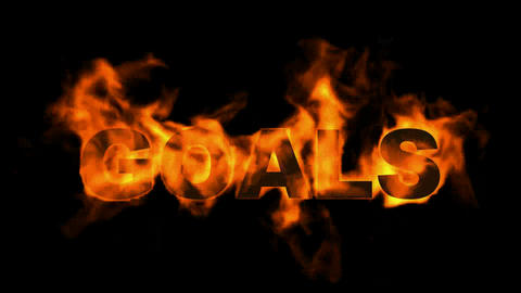 burning goals word,business fire text Stock Video Footage