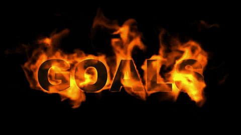 burning goals word,business fire text Animation