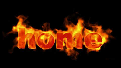 burning home word,fire text Stock Video Footage
