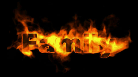 fire family word,fire text Stock Video Footage