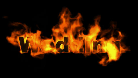 burning wedding word,fire text Animation