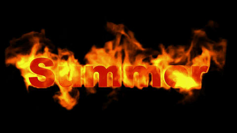 burning summer word,fire text Animation