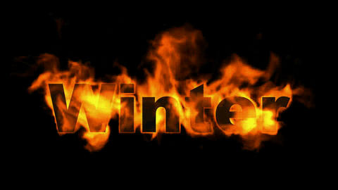 burn winter word,fire text Animation
