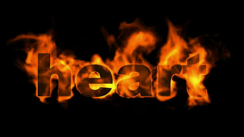 fire heart word Animation