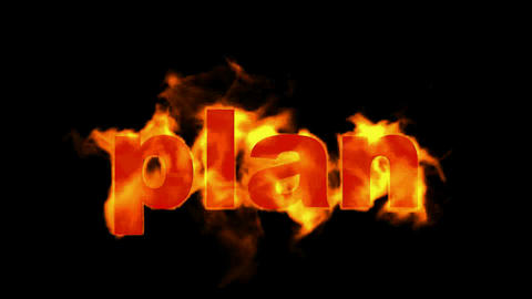burning 3D plan word,business fire key words Stock Video Footage